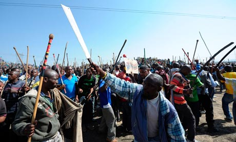 Violence at Lonmins Marikana Platinum Mine, Rustenburg, South Africa - 16 Aug 2012